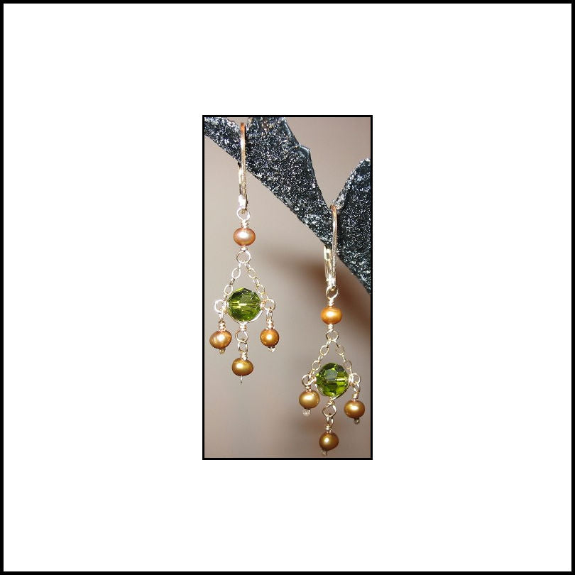 Olive and Gold Petite Chandelier Earrings