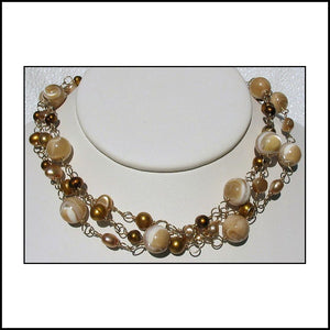 Madeleine - Gold Freshwater Pearl Three-Strand Necklace