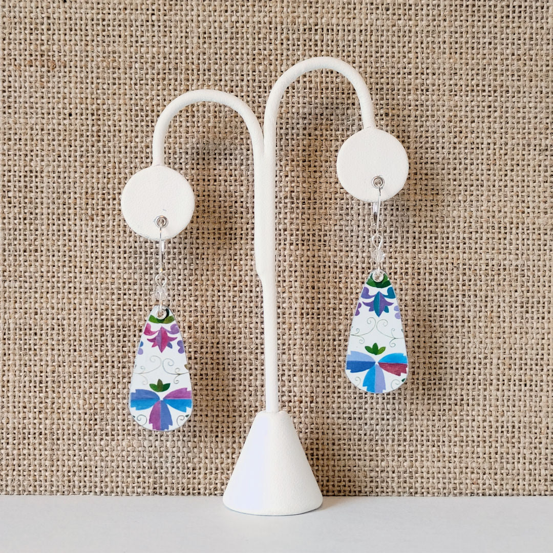 Vintage Tin Earrings - White Teardrops - Blues, Purples, Greens