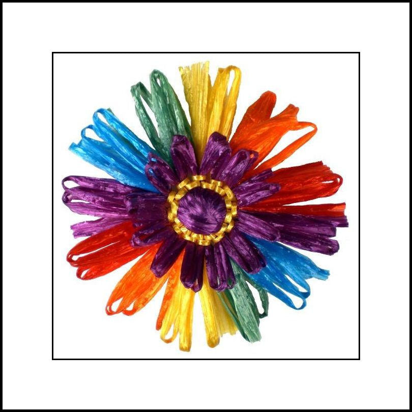 Vintage Rainbow Raffia Flower Pin
