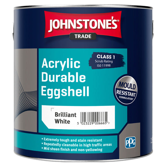 Johnstone's Trade Acrylic Durable Eggshell Brilliant White 2.5L Paint