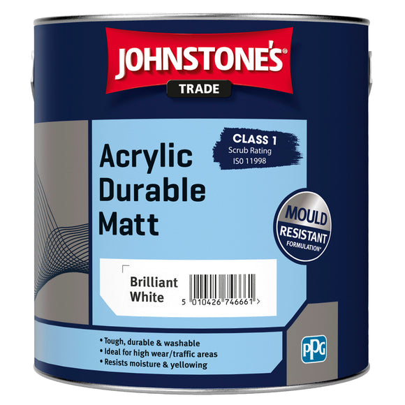 Johnstone's Trade Acrylic Durable Matt Brilliant White 2.5L Paint
