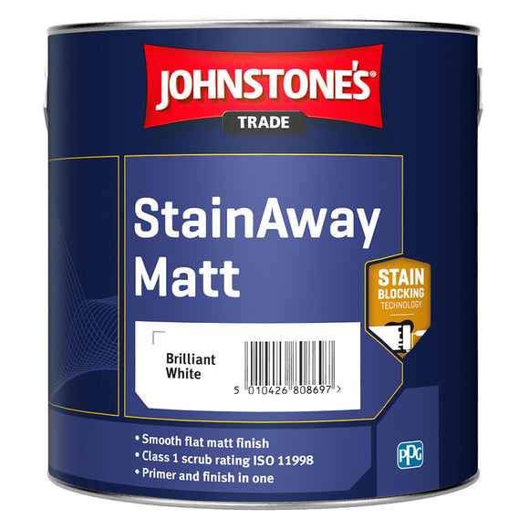 Johnstone's Trade StainAway Matt Brilliant White 2.5L