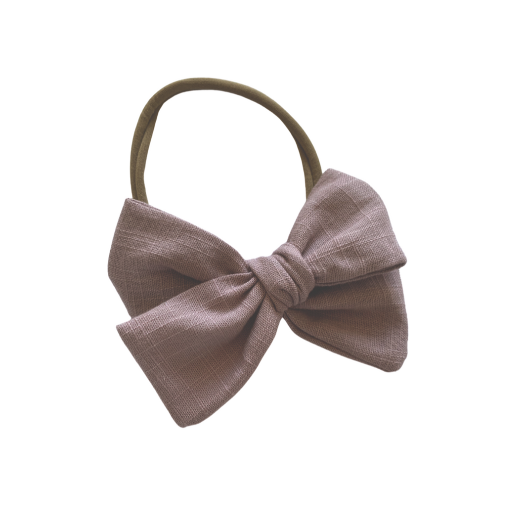 ANTIQUE MAUVE LINEN BOW