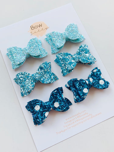 GLITTER BLUE PIG TAIL BOW SET