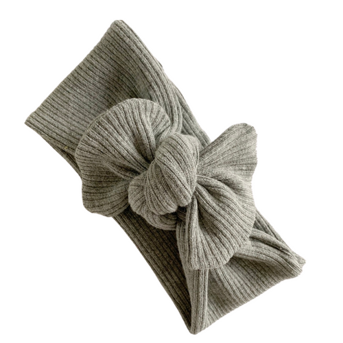 GREY MARLE RIBBED TILLY KNOT HEADBAND