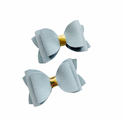 BARELY BLUE SUEDE MINI BOWS