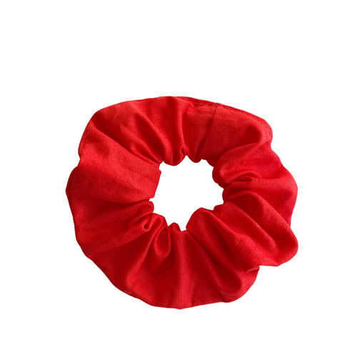 RASPBERRY RED LINEN SCRUNCHIE
