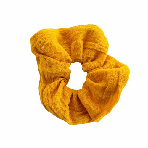 CHEESECLOTH MUSTARD YELLOW SCRUNCHIE