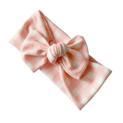 PINK GINGHAM TILLY KNOT HEADBAND