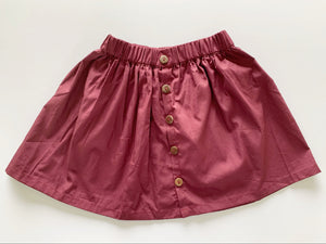 BUTTON SKIRT BURGUNDY