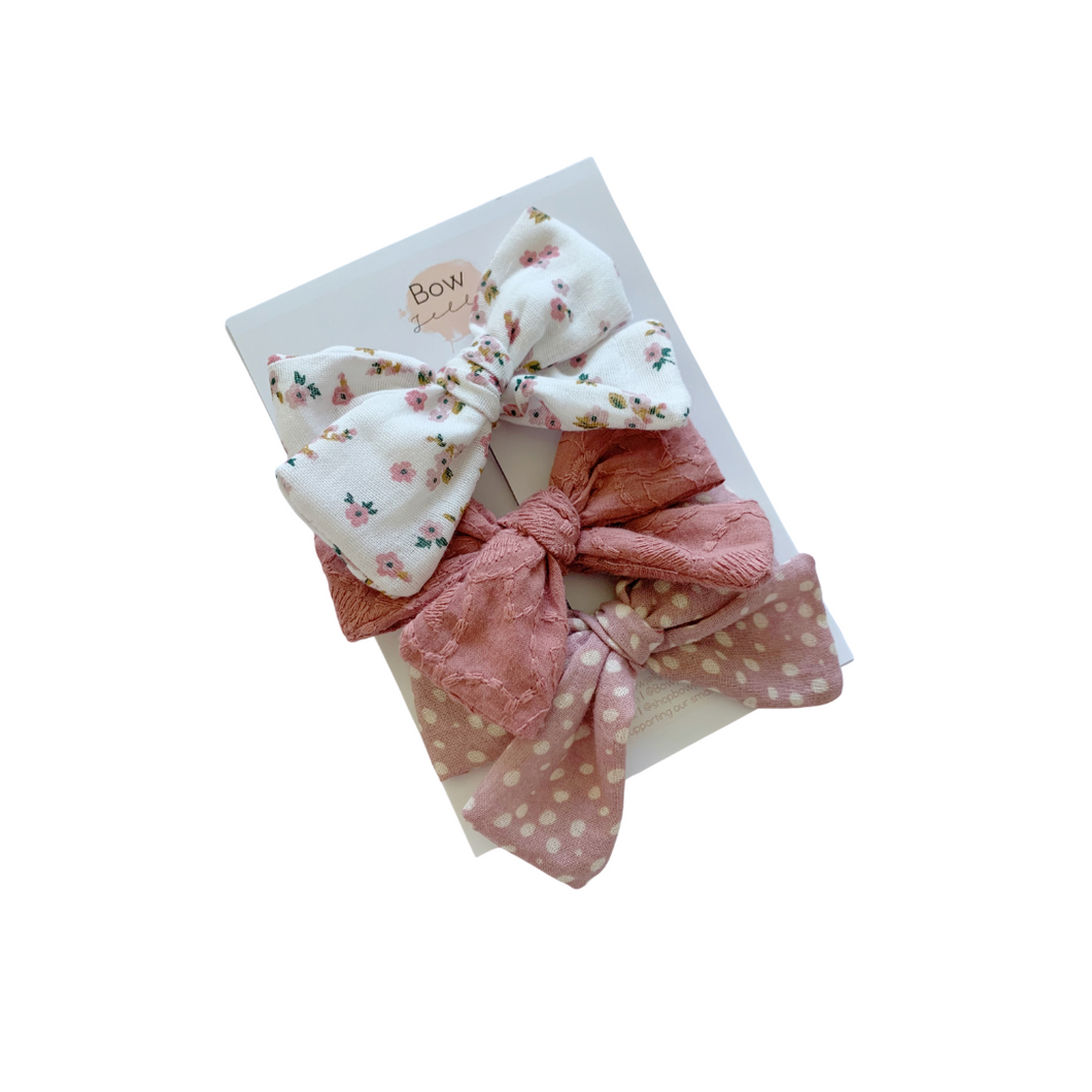FABRIC BOW SET | PINK