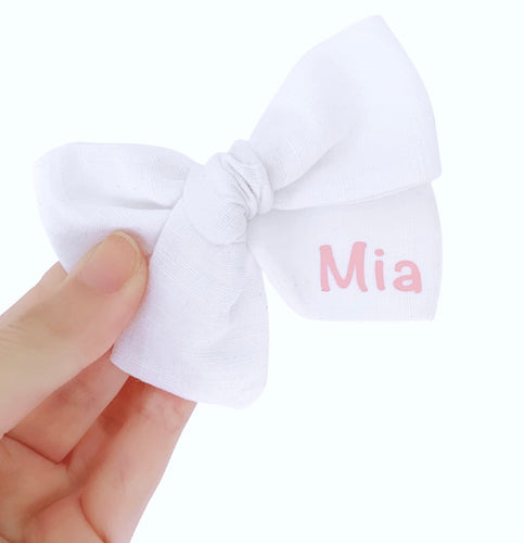 PERSONALISED LINEN BOW
