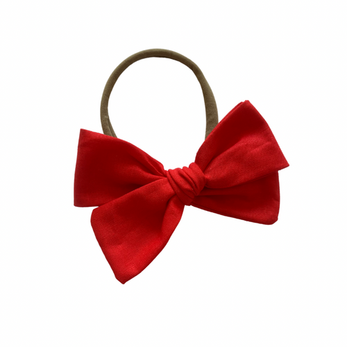 RASBERRY RED LINEN BOW