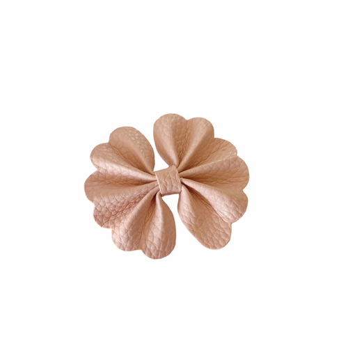 PINK NUDE MINI SCALLOPED FANTAIL BOW