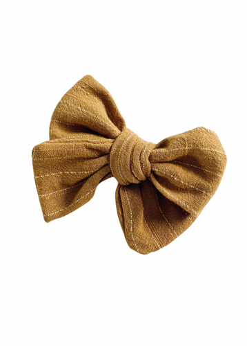 TOFFEE STRIPE LINEN BOW
