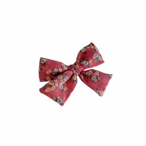 ROSY RED FLORAL LINEN BOW