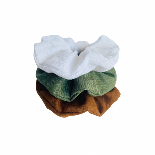 LINEN SCRUNCHIE SET | FOREST