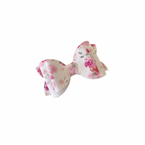 ROSY PINK FLORAL MINI BOW