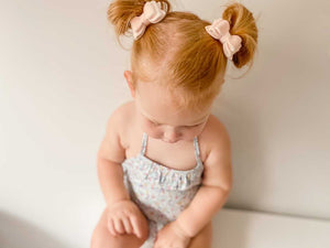 MARSHMALLOW VELVET BALLET PINK MINI BOW SET