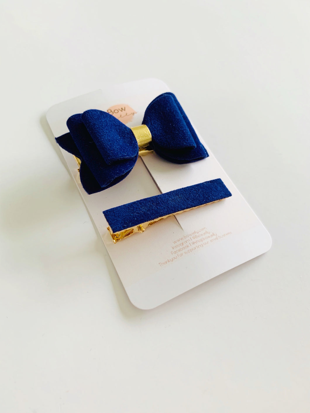 NAVY VELVET MINI BOW AND FRINGE CLIP SET