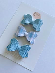 BABY BLUE MINI BOW SET