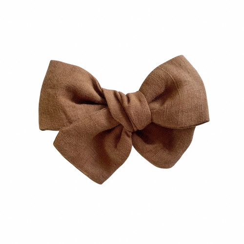 TOFFEE LINEN BOW