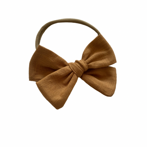 SAND LINEN SCHOOL GIRL BOW