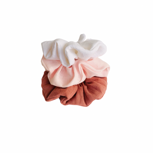 linen fabric pink scrunchie set