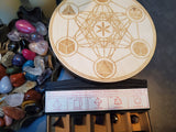 Metatron's Cube Crystal Grid with 5 peice Amethyst geometric symbol box set