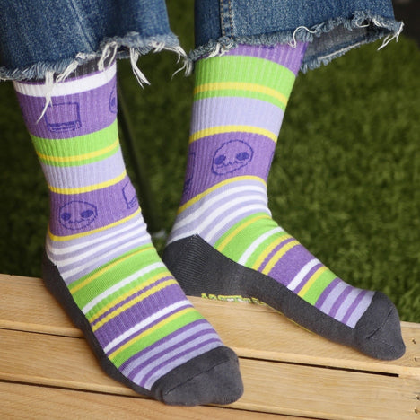Alien Hominid Invasion Stripe Socks