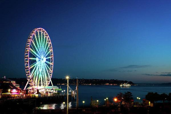 """Seattle by the Sea Ferris Wheel"" Prints and Products"