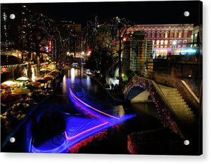 Christmas Lights and Light Trails by the Riverwalk - Acrylic Print