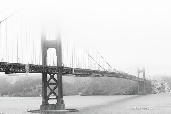 Foggy Day at the Golden Gate Bridge in Black and White - Art Print