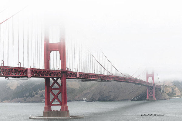 Foggy Day at the Golden Gate Bridge Red with Black and White - Art Print