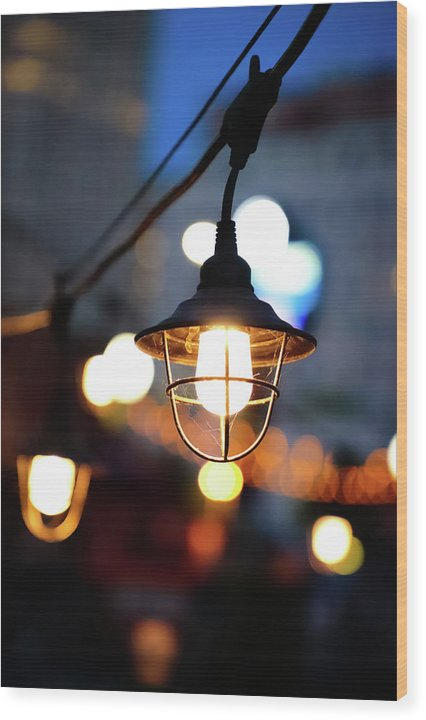 Lights by the sea - Wood Print