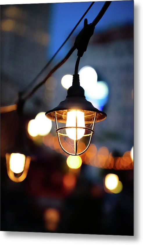 Lights by the sea - Metal Print