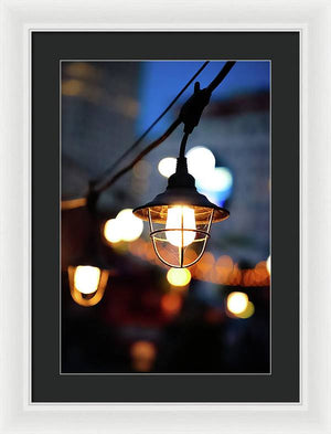 Lights by the sea - Framed Print