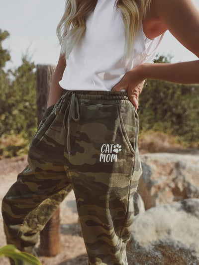 Camo Fleece Cat Mom Pocket Joggers Meow
