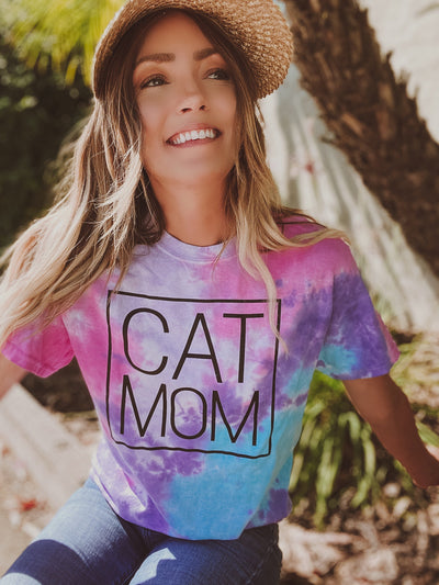 Cotton Candy Black Cat Mom Tee Meow