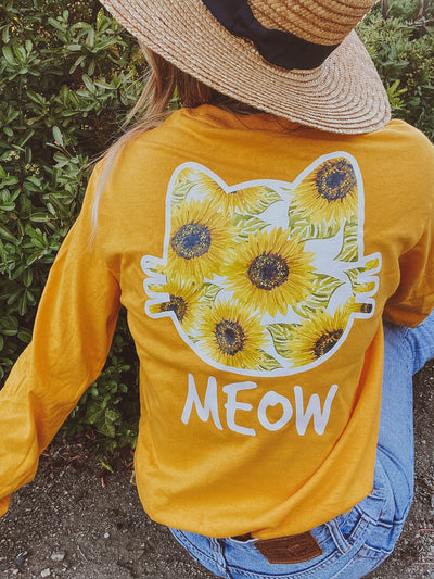 Gold Sunflower Long Sleeve Meow