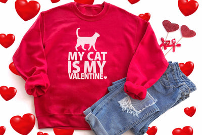 Red My Cat Is My Valentine Silouette Crewneck Meow