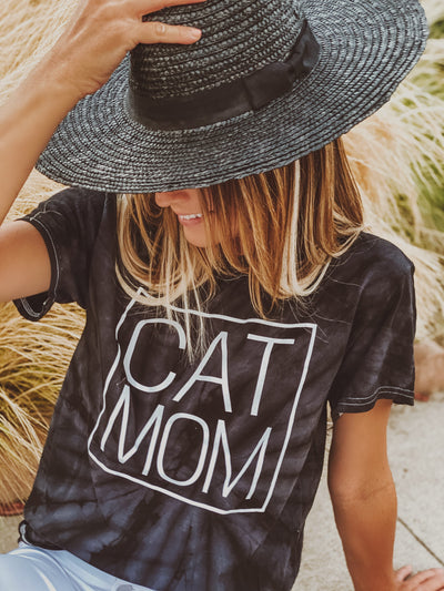 Spider Black Tie Dye Cat Mom Tee Meow