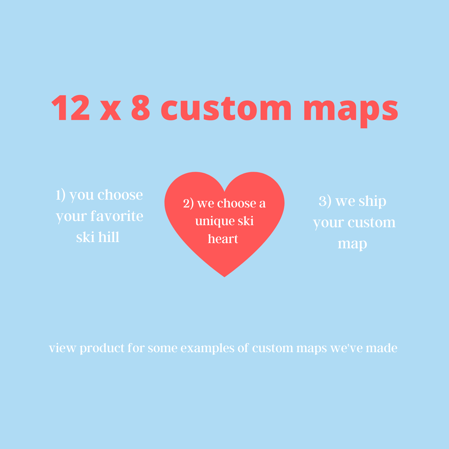 Custom wooden ski map + ski heart, 12x8