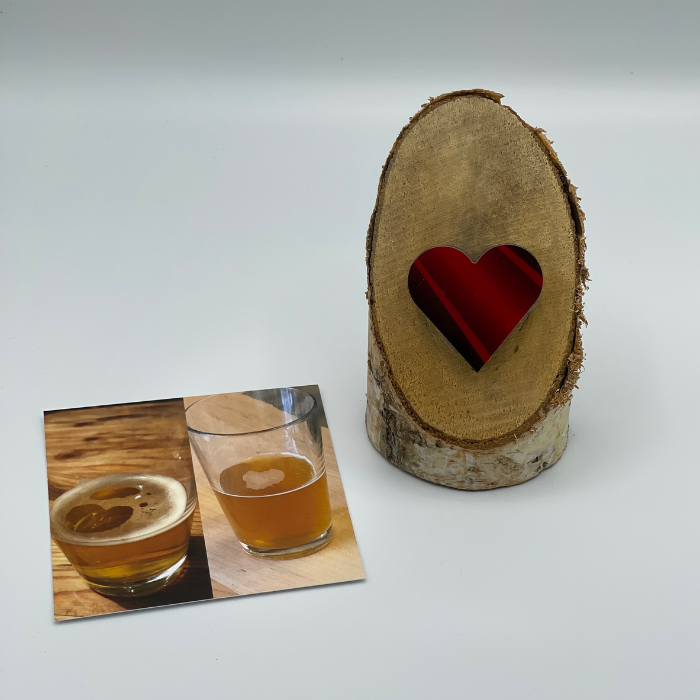 Birch Stand with Upcycled Ben Ski Heart & Collage (Small)