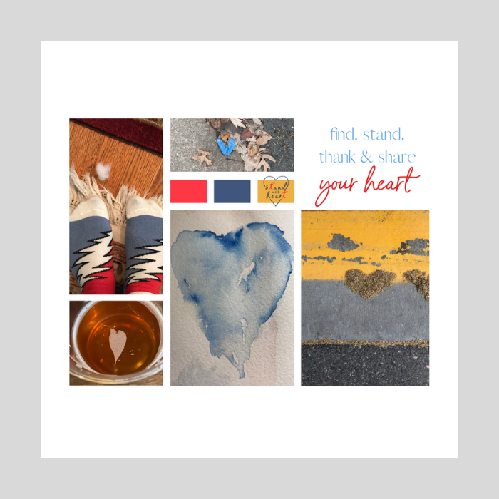 Red Gold and Blue Mood Board Hearts Collage
