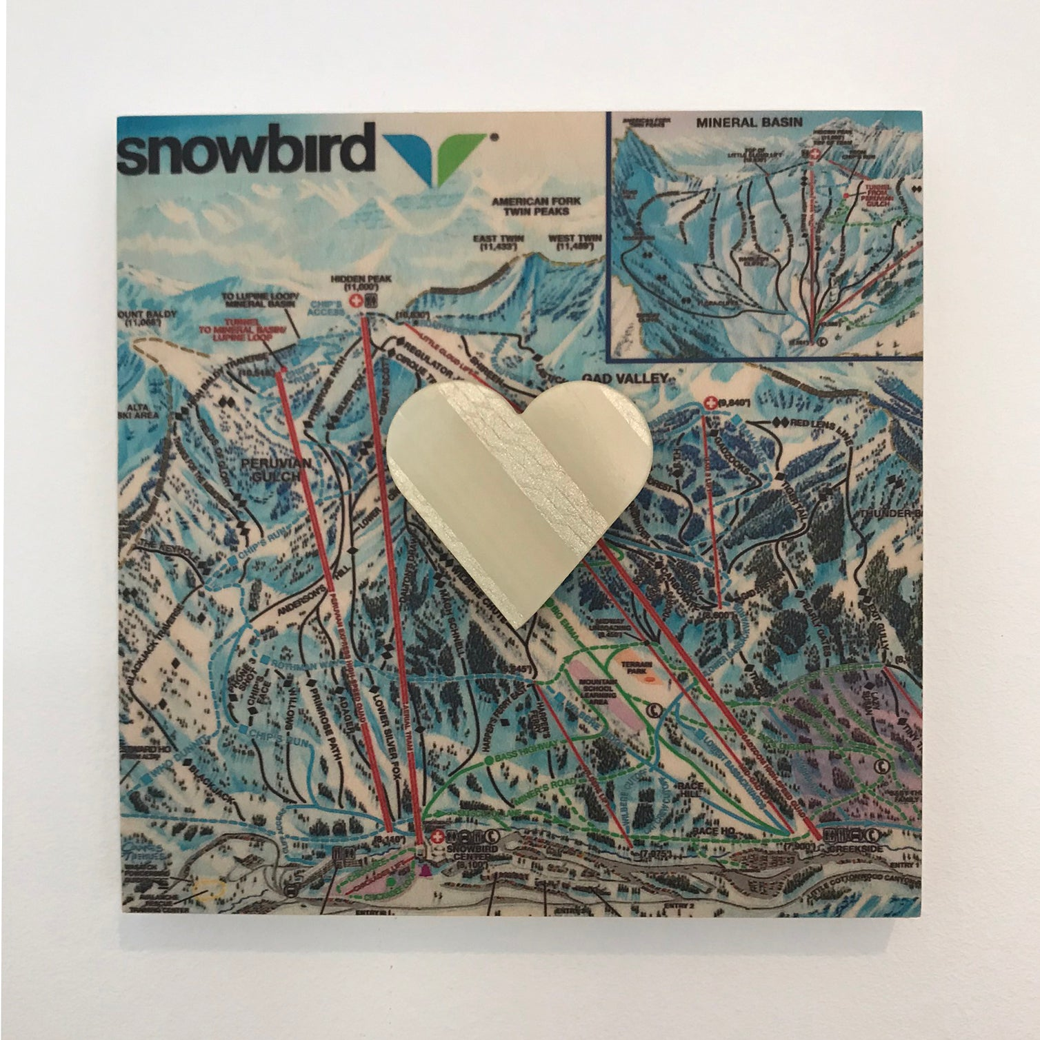 Custom wooden ski map + ski heart, 6x6