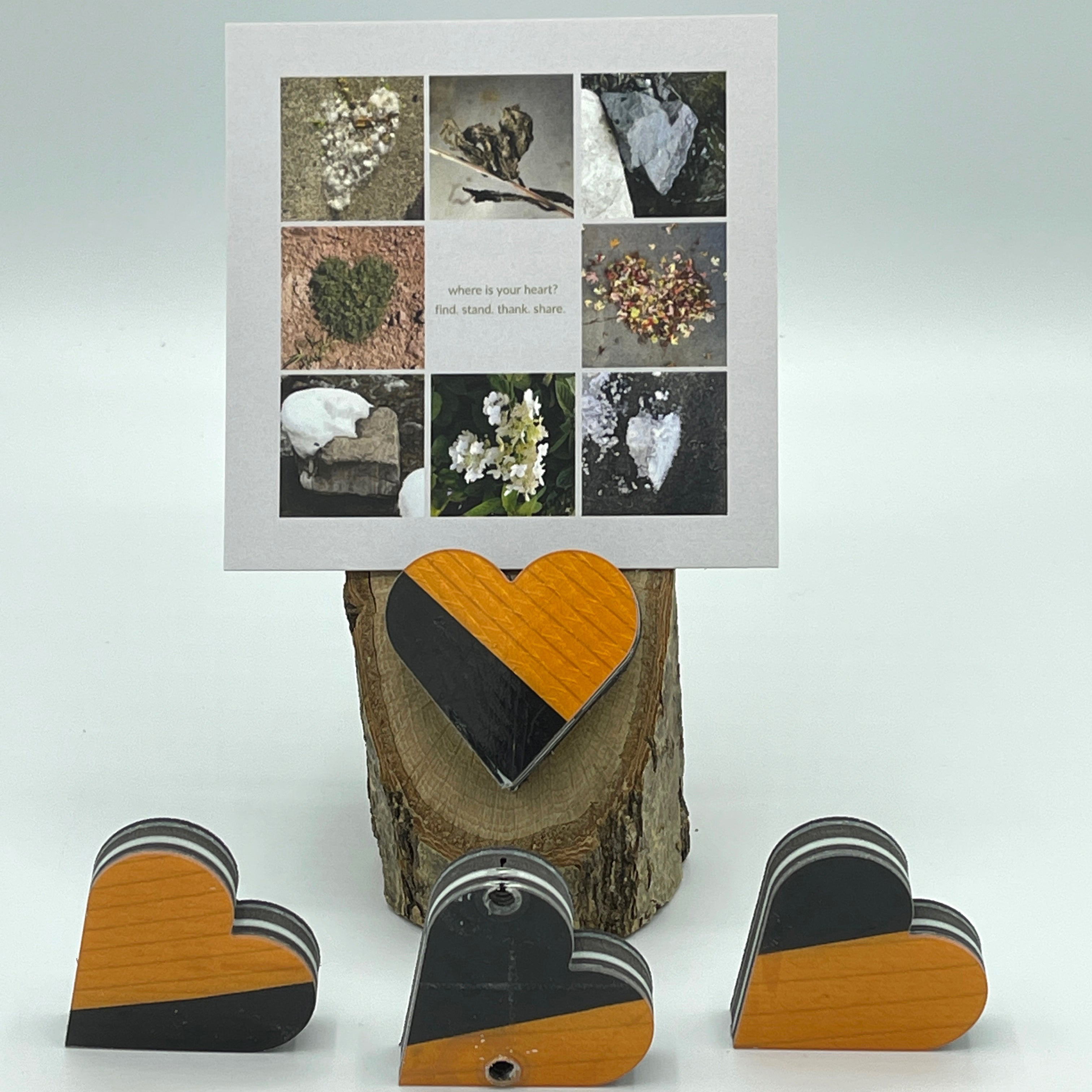 Heart Collage & Oak Stand w/ Upcycled George Ski Heart