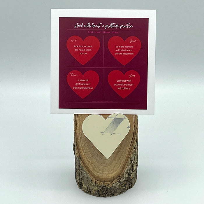 Gratitude Print (red) & Oak Stand w/ Upcycled Grace Ski Heart