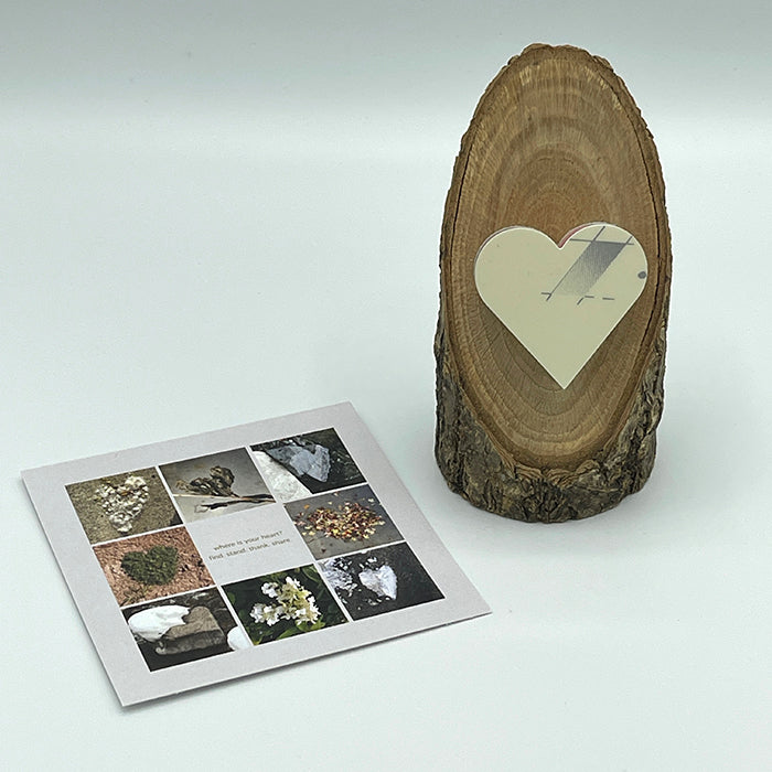 Heart Collage & Oak Stand w/ Upcycled Grace Ski Heart